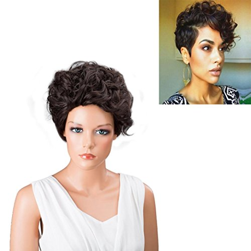 Wigs, Hatop Women Short Black Brown FrontCurly Hairstyle Synthetic Hair Wigs For Black Women (70s Womens Hairstyles)