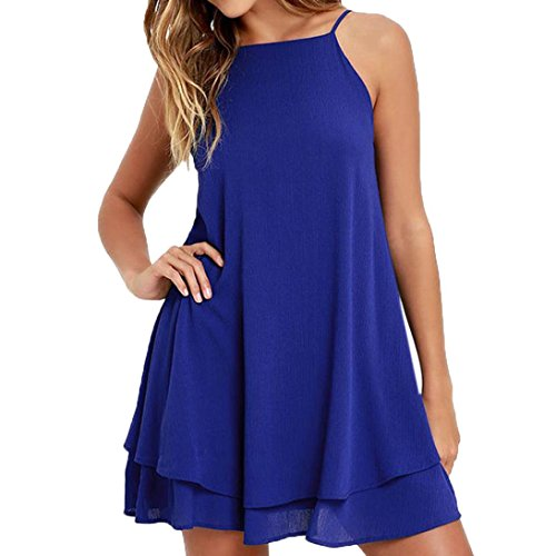 Bovake Plage d't Solide Femmes Strappy Dcontract Robe Loose Femme Mini Court Bleu Robe r1fqvr