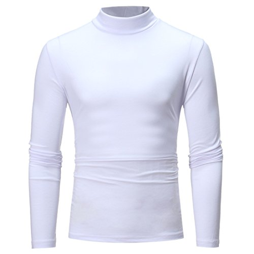 De À Manches Longues Unie Slim Qiyun Blanc Base Style Hommes Couleur Tops Fit z Mock Des E4qvT4p1