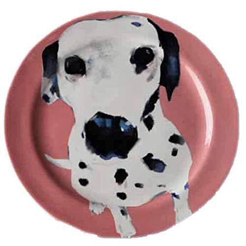 Sally Muir Anthropologie Dog-a-Day Stoneware Dessert Plate - Dalmatian Pink