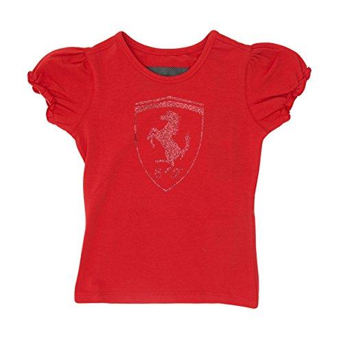 - Ferrari Kid Girl Glitter Shield T-Shirt (Red, 9-10 Year)