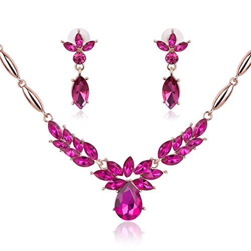 Gold Tone Necklace Earring Set for Women V-shape Drop Crystal Bridal Wedding Jewelry (Pink)