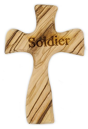 Olive Wood Prayer Cross - Hand Made in The Holy Land (Soldier)