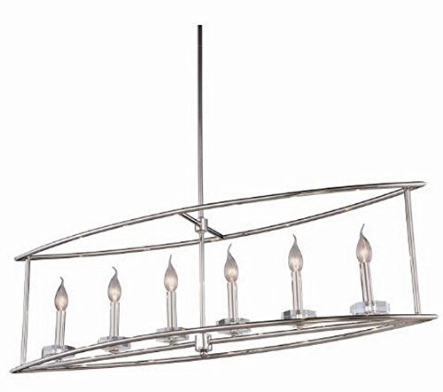 Elegant Lighting 1494G44PN Bjorn Collection Pendant Lamp L44'' W14'' H65'' 6-Light, Clear