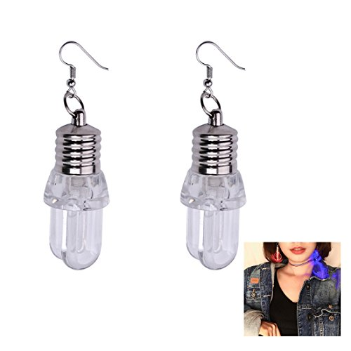 Stay Calm 1 Pairs LED Changing Color Earrings - Light Up Stick Bulbs Flashing Blinking Earring for Christmas, Halloween, Dance Party Accessories for Women Lady Gifts (Bulb)