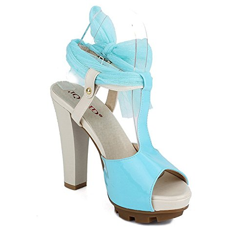 Patent Open UK Toe Skyblue Heel PU Womens with VogueZone009 Platform Peep Leather Sandals Assorted Colors Chunky Heels 2 Buckle High vn5xR