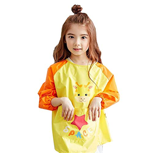 Smock Housekeeping (Kids Aprons Fabric Painting Craft Waterproof Anti-dressing Apron,Ideal for baby feeding Eating playing Artists Classroom painting smock and Kitchen,calligraphy,game,Deer pattern Apron)