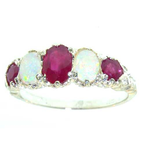 14k White Gold Natural Ruby an