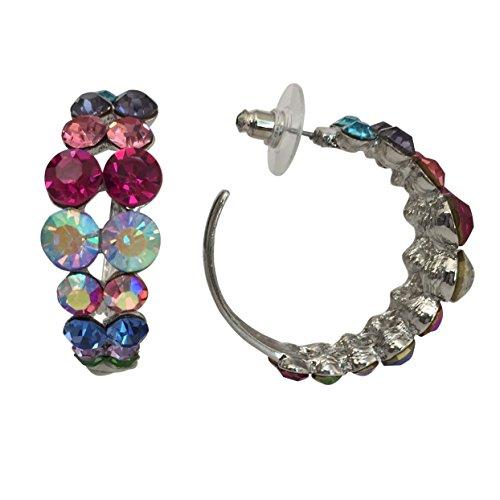 Pageant Gown Earrings (Graduated Large Stone Rhinestone Formal Silver Tone Hoop Earrings (Multi)