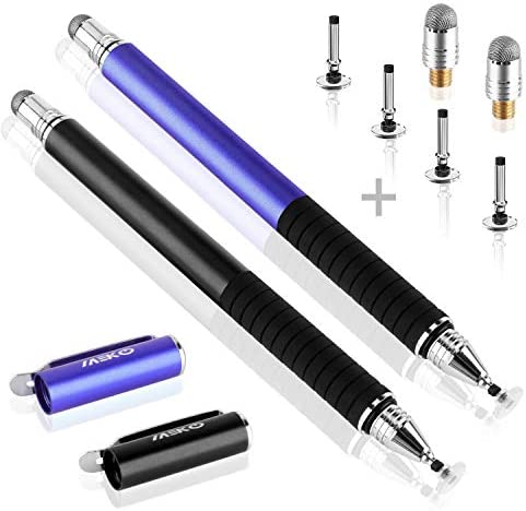 MEKO(TM) (2 Pcs)[2 in 1 Precision Series] Disc Stylus/Styli Bundle with 4 Replaceable Disc Tips, 2 Replaceable Fiber Tips for All Touch Screen Devices – (Black/Blue)