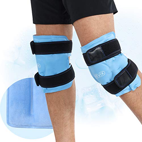 REVIX Ice Packs for Knee Injuries Reusable, Gel Ice Wraps with Cold Compression for Injury and Post-Surgery, Plush Cover…