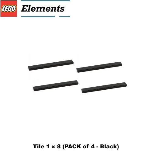 1x8 Lego (Lego Parts: Tile 1 x 8 (PACK of 4 - Black))