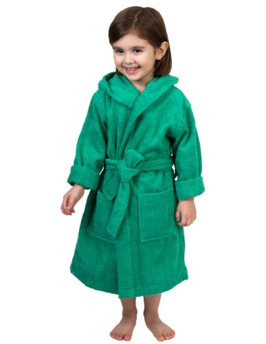 TowelSelections Big Girls' Robe, Kids Hooded Cotton Terry Bathrobe Cover-up Size 14 Simply Green Cotton Lightweight Cover Up