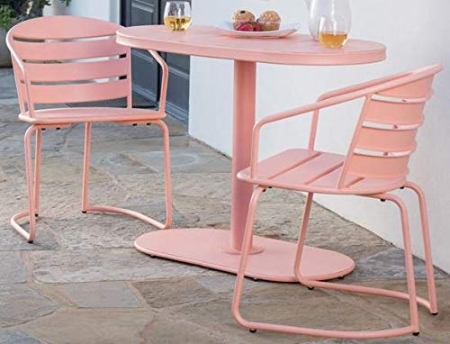 Luca Outdoor- Sunroom Furniture- Out Door Patio Furniture- Matte Coral Iron Three Piece Oval Set - Great for Summer Barbecues, Garden Parties, and Afternoons Spent Lounging