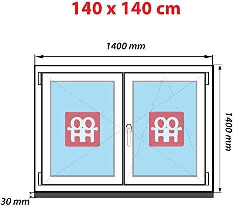 140x140 cm Kunststofffenster   wei/ß 1400x1400 mm rechts Zweifl/ügelige ohne Pfosten