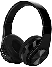 Wireless Headphones, YiMiky Foldable Bluetooth 5.0 Earphone with Mic Noise Cancelling Over Ear Stereo Headphone, Soft Protein Earpads,Wired Mode/TF Card Play/FM Headset for Office Sports (Black)