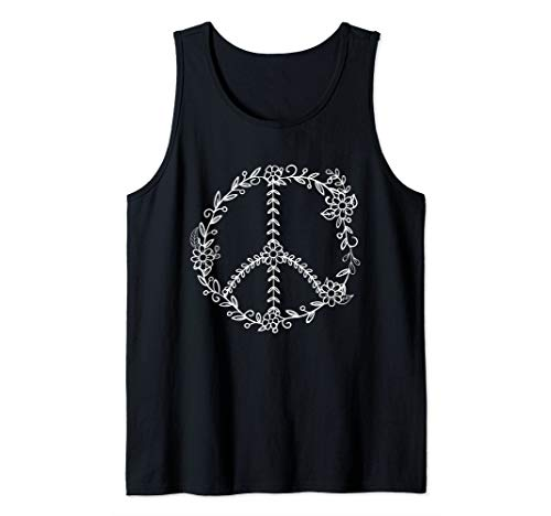 Flowers and Leaves Peace Sign Retro Flower Leaf Tank Top