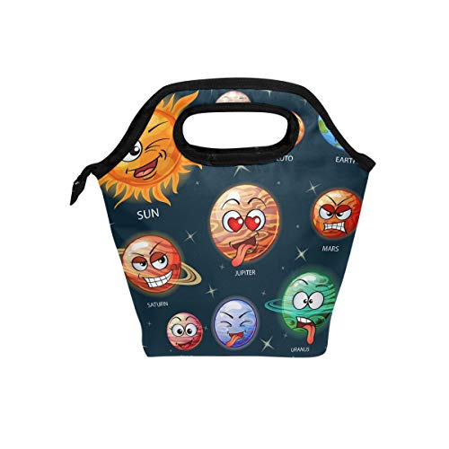 U LIFE Cute Emoji Sun Earth Solar System Planets Lunch Bags Tote Picnic Cooler Insulated Bag Box for Kids Boys Girls Men Women by U LIFE