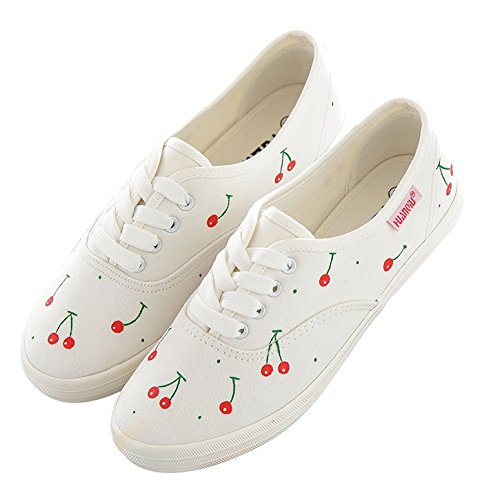 Women Shoes Fashion Cherry Hand-Painted White Comfy Low Cut Flat Lace up Slip On Casual Canvas,4.5B(M) US