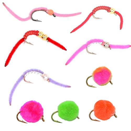 The Fly Fishing Place San Juan Worm Power Bead and Bead Head Glo Bug Egg Tailwater Fly Assortment - Collection of 9 Wet Nymph Fly Fishing Flies - Hook Sizes 10 and 12-1 Each of 9 Fly Patterns