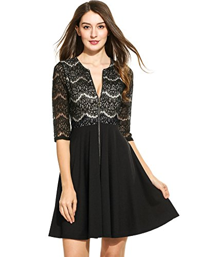 ELESOL Womens Exposed Zipper Front Dress Fit Flare Lace Short Dress Black_L (Zipper Front Pleated Dress)