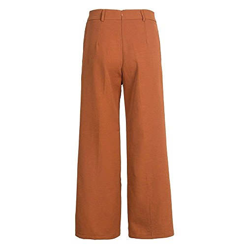 Culotte Pantaloni Estivi Braun Pantaloni Moda Slim Eleganti Donna Larghi Pants HaiDean Glamorous Baggy Monocromo Palazzo Pantaloni Cinghietti Lunga Fit Semplice XPqgY