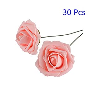 Hecaty 30 Pcs Silk Cream Roses Flower Head, Artificial Flowers Centerpiece Heads for Wedding Bouquets Home Party Decor DIY Gift Wreath Baby Shower Accessories 7