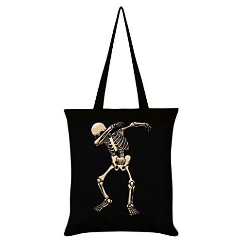 Skeleton Dab Tote Bag Black 38 x 42cm
