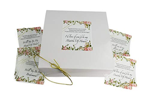 Will You Be My Bridesmaids Gift Boxes 8x8x3.5 (Set of 10 Empty Boxes) with 16 Poem Proposal Labels for 10 Bridesmaids, 2 Maid of Honors, 2 Marton of Honors & 2 Flower Girls & Gold String (White)