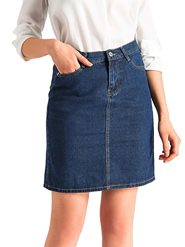 Beluring Womens Lightweight Denim Short Bodycon Pencil Skirts Dark Blue Size 16 - Denim Lightweight Skirt