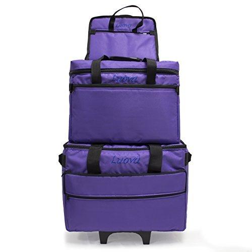 Luova 19'' 3 Piece Rolling Sewing Machine Trolley Set in Purple by Luova