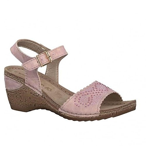Marco Tozzi Rose Cork Effcet Wedge Buckle Sandals 28509-20 Rose UI55zFU