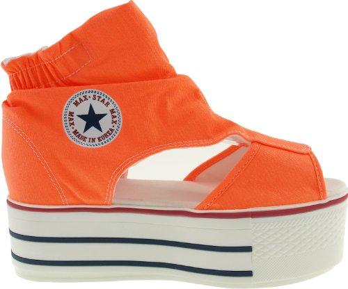 Maxstar C50 Open Toe Wrinkled Canvas Ankle Platform Sandals Shoes Neon Orange sVALI2M