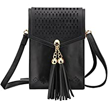 "Cell Phone Bag, MoKo Crossbody Wallet Pouch Purse Women Folk Style Case with Shoulder Strap, Fit Smartphone Up to 6.3"", For iPhone X / 8 Plus / 7 / 6s Plus, Samsung Galaxy Note 8 / S9 Plus/ S9 - Black"