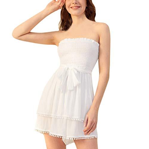 - Tomppy Women Off Shoulder Romper Summer Casual Solid Backless Tassel Belted Short Jumpsuits Playsuits White