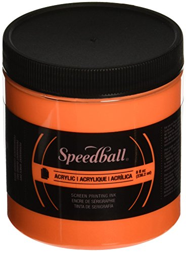 "Speedball 46215 Acrylic Non-Flammable Screen Printing Ink, 8 oz. Size, 3.25"" Height, 2.88"" Width, 2.88"" Length, Fluorescent Orange"