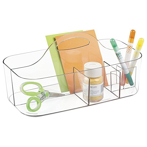 mDesign Art Supplies, Crafts, Crayons and Sewing Organizer Tote - Small, Clear