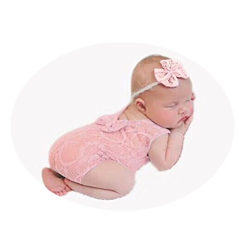 Newborn Baby Photography Props Lace Butterfly Headdress Vest Bodysuit Sets for Boys Girls Photo Shoot Props (Pink)