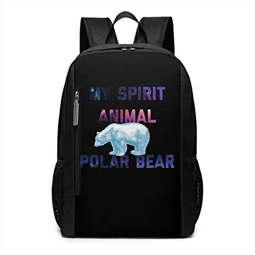 My Spirit Animal Polar Bear Laptop Backpack 17inch- School Travel Backpack Casual Daypack For Business/College/Women
