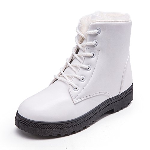 Cheap White Boots (womens snow boots for winter ankle boots combat walking shoes booties white size 6.5 6 1/2)