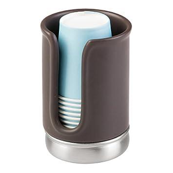 mDesign Dispensador de vasos de papel - Para soporte de cepillo de dientes - Sin perforar