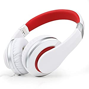 Kanen i20 Stereo On-Ear Foldable Headphones (White/Red) with Micorphone for iPhone,Android Device,Mp3,Mp4,Dvd