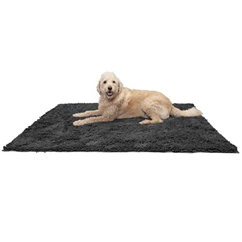 Chenille Pet Bed - Furhaven Pet Dog Mat | Muddy Paws Absorbent Chenille Bath Towel & Shammy Rug for Dogs & Cats, Charcoal (Gray), Jumbo Plus, 3XL Jumbo Plus