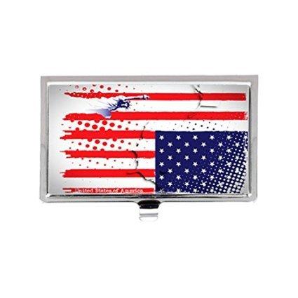 USAマップ& The星とストライプのアート画像プリントカスタムイメージビジネスカードホルダー名ケース   B01JIGX9MW