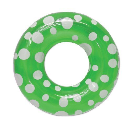 36 Green Polka Dot Inflatable Swimming Pool Inner Tube by Swim Central