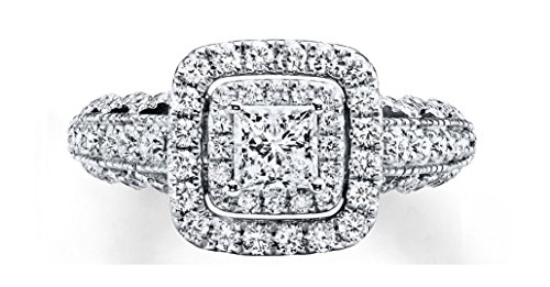 1.52 Ct Round Diamond (Vera Wang Love Collection 1.52ct Cushion Halo Princess Round Cut Diamond 14k White Gold Engagement Anniversary Promise Ring,All US Size 4 to 12 available,Message us your Ring Size)