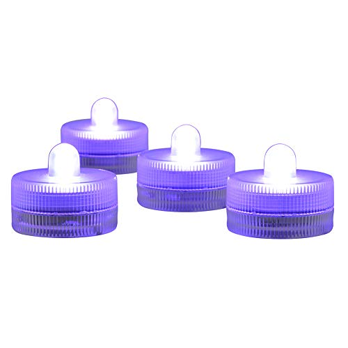 Submersible LED Light, Kitosun Underwater Waterproof Mini LED Tea Lights Sub Light With 20Pcs Standard Batteries For Wedding, Party, Pond, Fountain or Home Decor LED Candle Light,10-Pack (Purple) ()