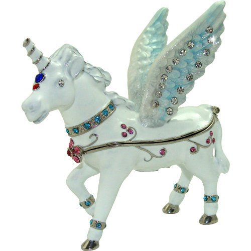 Objet D'Art Release  335 'Monoceros The Unicorn' Whimsical Horse Handmade Jeweled Enameled Metal Trinket Box [parallel import goods]