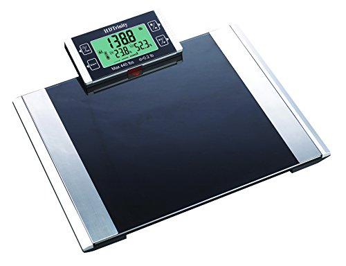 Bathroom Scale 440 Lb (440 lb Capacity Digital Body Fat and Hydration Monitor Bathroom Scale with Extra Wide Tempered Glass Surface and Detachable Display BFS308)