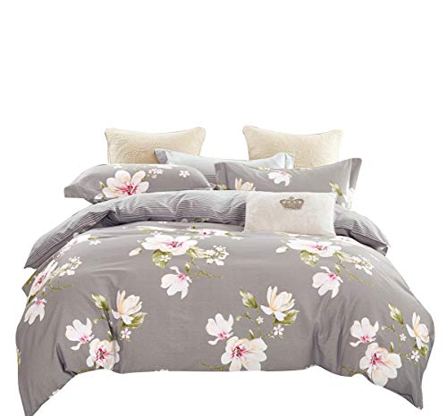 Swanson Beddings Magnolia Reversible Floral Print 3-Piece 100% Cotton Bedding Set: Duvet Cover and Two Pillow Shams (King)